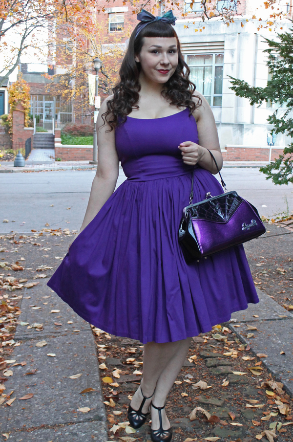 purple dress pinup