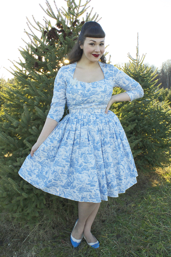 blue toile dress