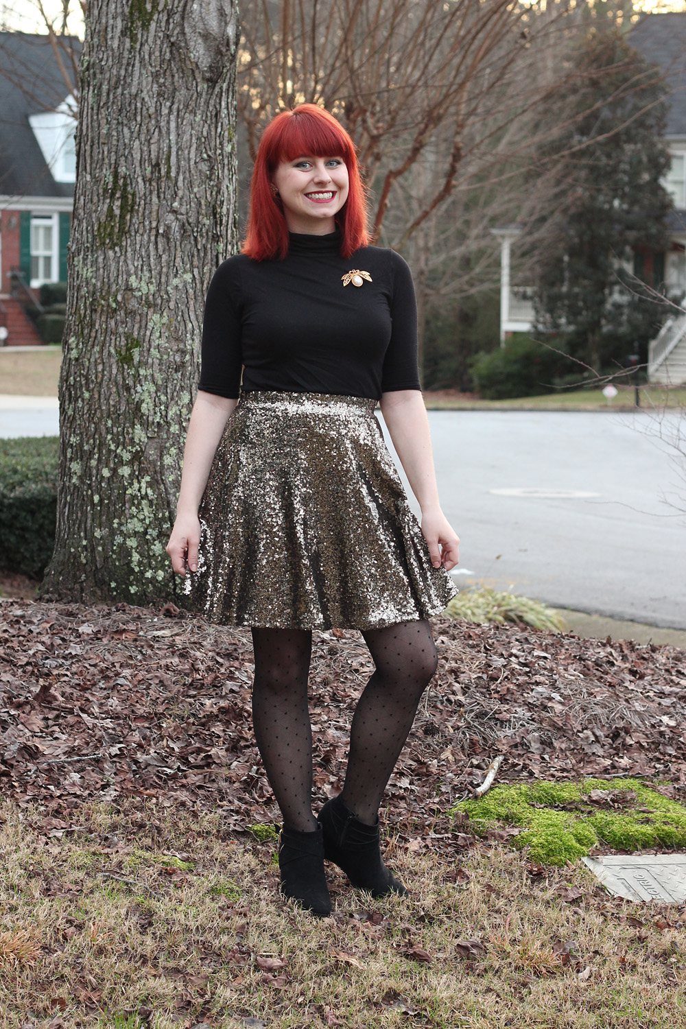 Gold Sequined Skater Skirt, Black Turtleneck T-shirt, Polka Dot Tights, and Black Wedge Boots