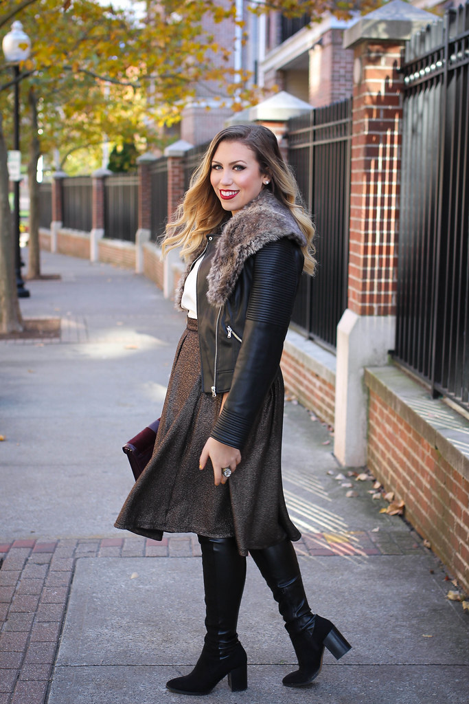 Over the Knee Boots Metallic Midi Skirt Leather Jacket Fur Collar Holiday Outfit Living After Midnite Jackie Giardina