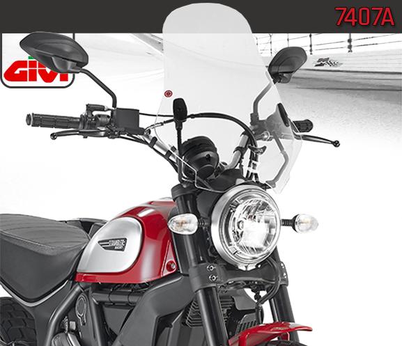 Givi Parabrezza / Cupolino Trasparente con kit Attacchi per Ducati  Scrambler 400 / 800 2015 15>