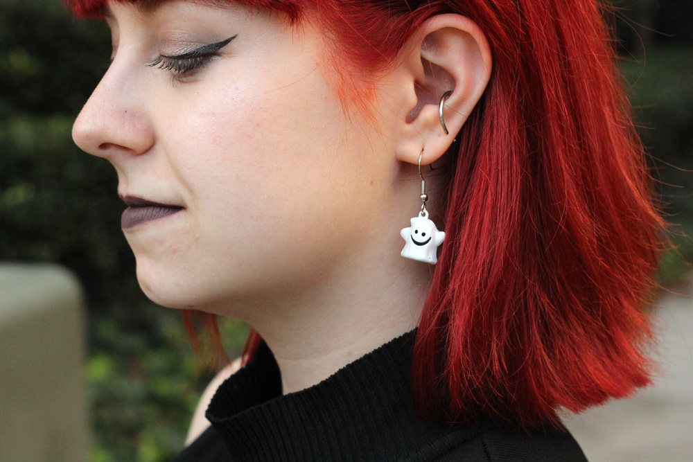 Ghost Bell Earrings with Bright Red Hair for Halloween