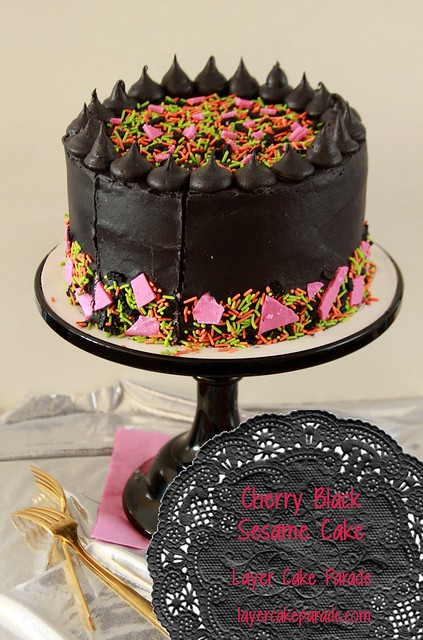 Cherry Black Sesame Cake