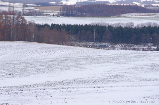 丘風景の中の富良野線