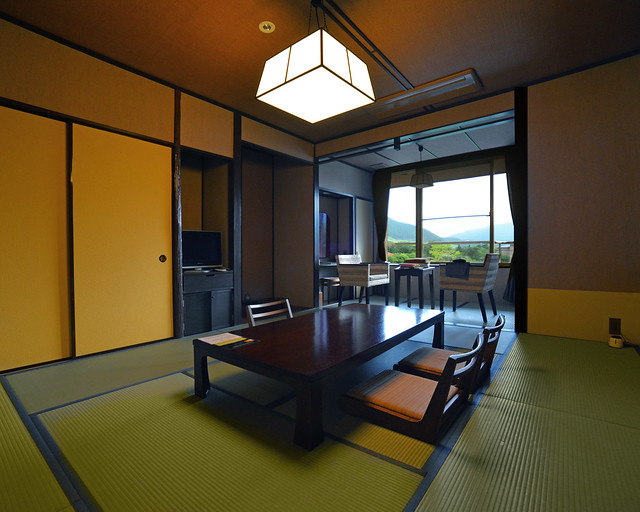 Salón de nuestra habitación en Hakone, en uno de los Ryokan más baratos de Hakone