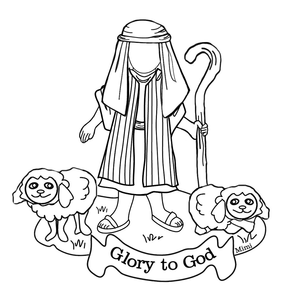 christmas coloring pages for boys | Bible kids shepherd boy with sheep Christmas color page to ...