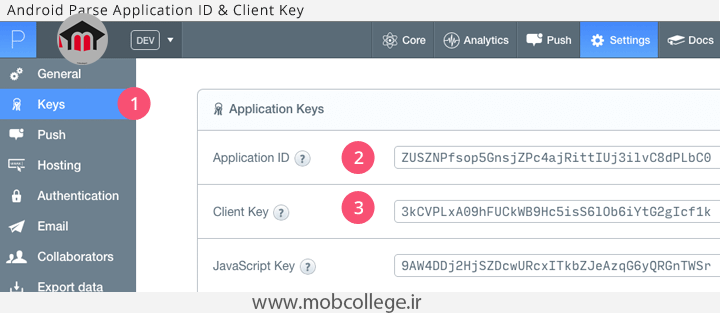 android-parse-keys-mobcollege