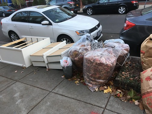 Trash on sidewalk