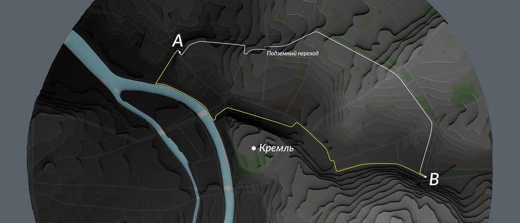 Белая линия – маршрут по бульварам, желтая – альтернативный маршрут. Карта ориентирована на запад.