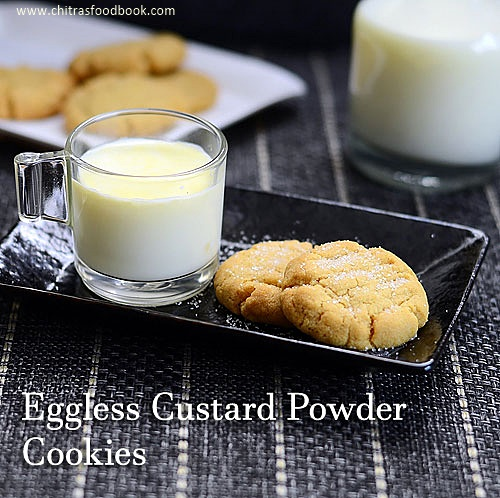 Eggless whole wheat custard ciookies
