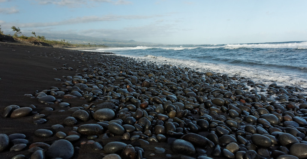 Black Sand And Stone Beach Near Saint Pierre La R Unio