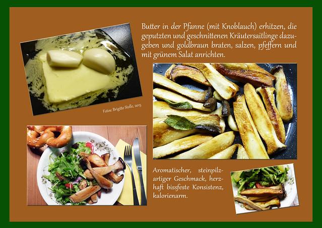 Pilze Kräutersaitling Zuchtpilz Rezept gebraten Salat vegetarisch vegan herbstlich Herbstrezept Foto Brigitte Stolle 2015
