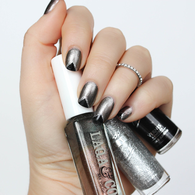 Metallic Black Triangle Nail Art Living After Midnite