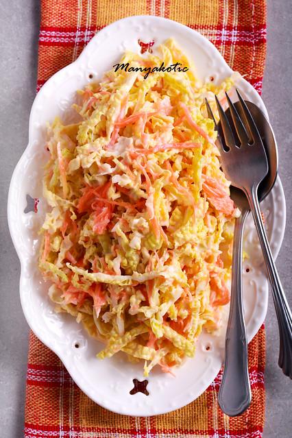 Coleslaw salad served on plate