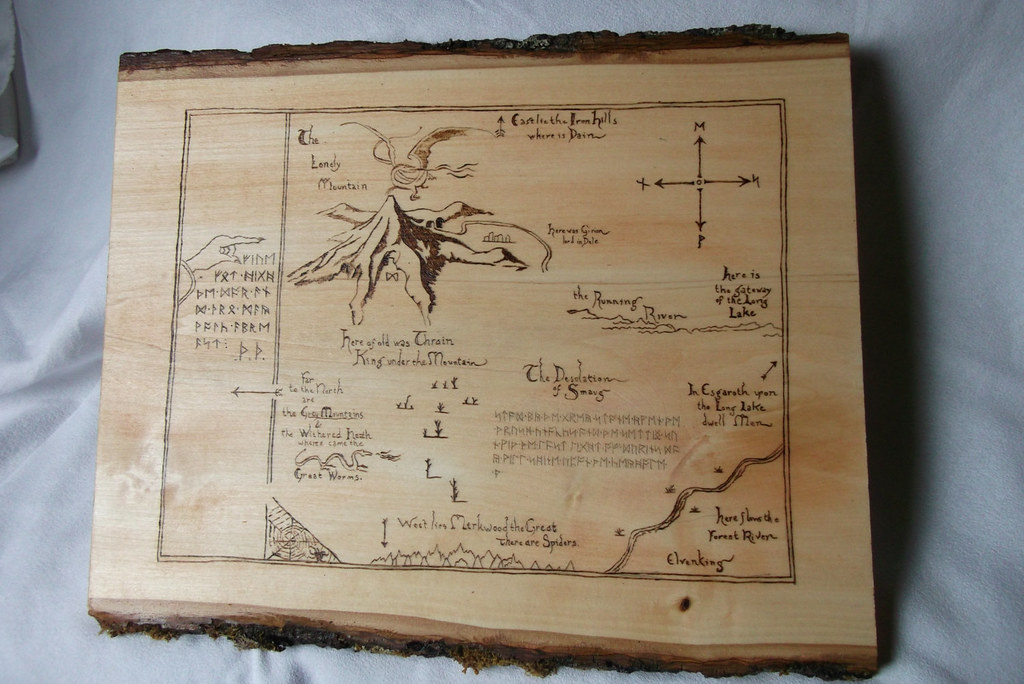 The Hobbit Thorin's map woodburned plaque by Kathleen Kaderabek