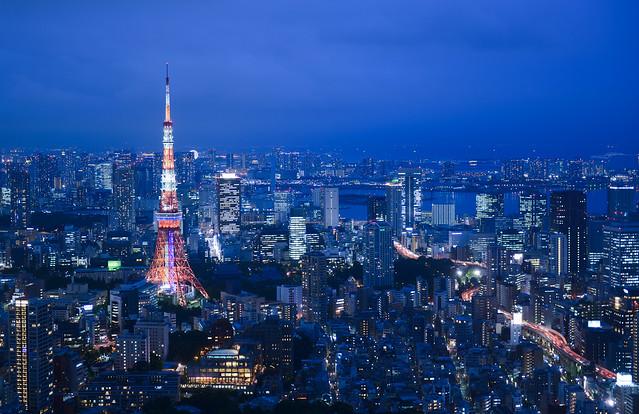 Maravillosa hora mágica desde las Roppongi Hills en Tokio