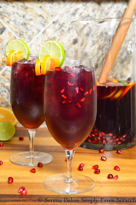 Red Wine Pomegranate Sangrias is a deliciously refreshing cocktail that's easy to make! serenabakessimplyfromscratch.com