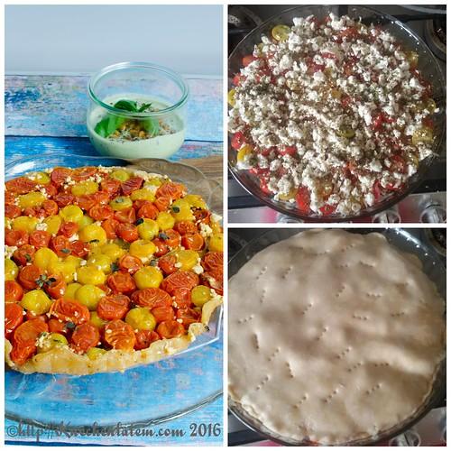 Tomaten Tarte-Tatin mit Basilikum-Joghurt Collage