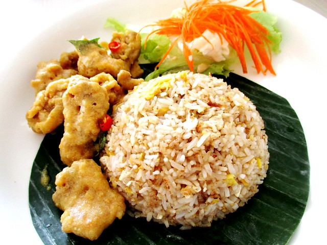 Golden salted egg chicken with fried rice