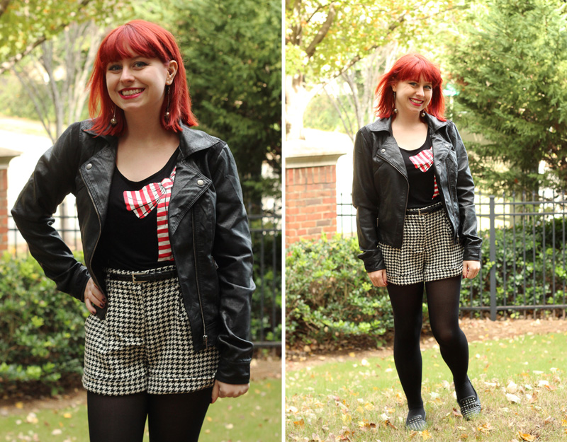Houndstooth Shorts with Black Tights, a Bow Print T-shirt, and Leather Jacket