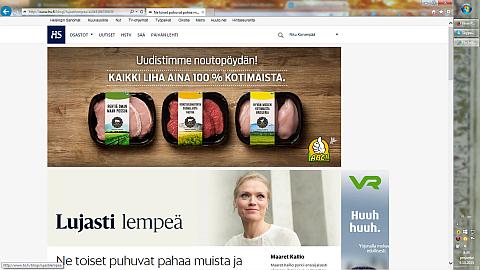 Screen shot Hesarin sivusta.