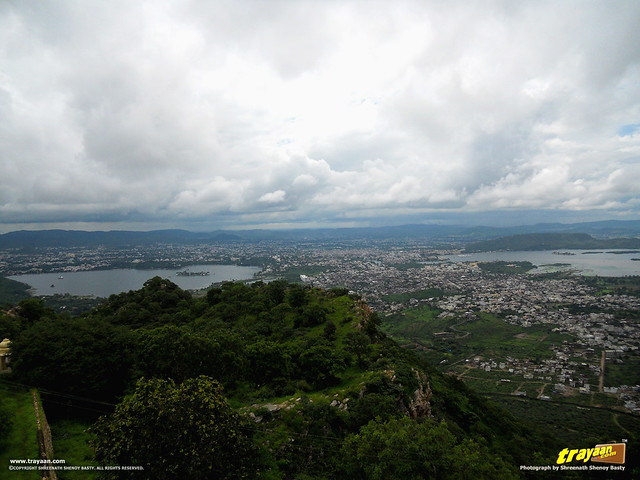 A view of Lake Pichola and Fatehsagar Lake from Monsoon Palace or Sajjangarh Palace in Udaipur, Rajasthan, India