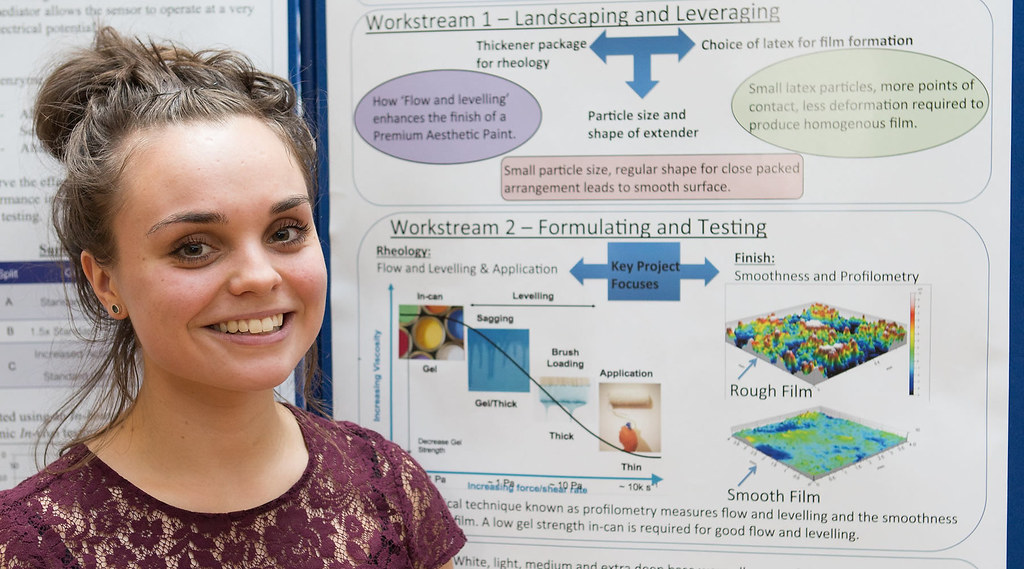 Lois Wayment with her poster about her placement at AkzoNobel
