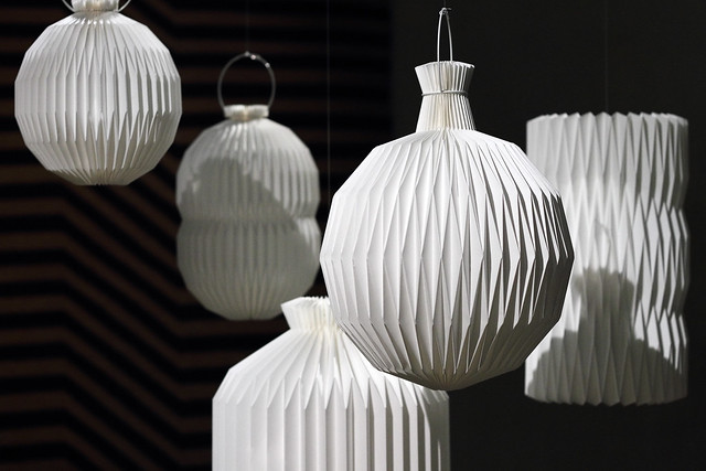 Folded paper lanterns from Learning From Japan exhibition at Design Museum Denmark