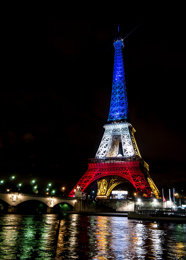 la tour eiffel illumin e en bleu blanc rouge fluctuat ne. Black Bedroom Furniture Sets. Home Design Ideas