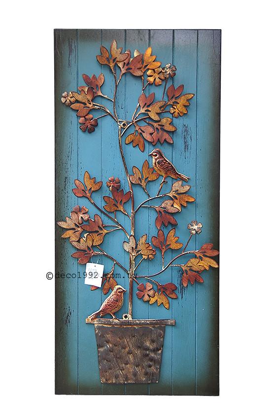 壁饰—立体感锻铁小鸟与盆栽造型 复古风木板壁饰 挂画 复古做旧风格