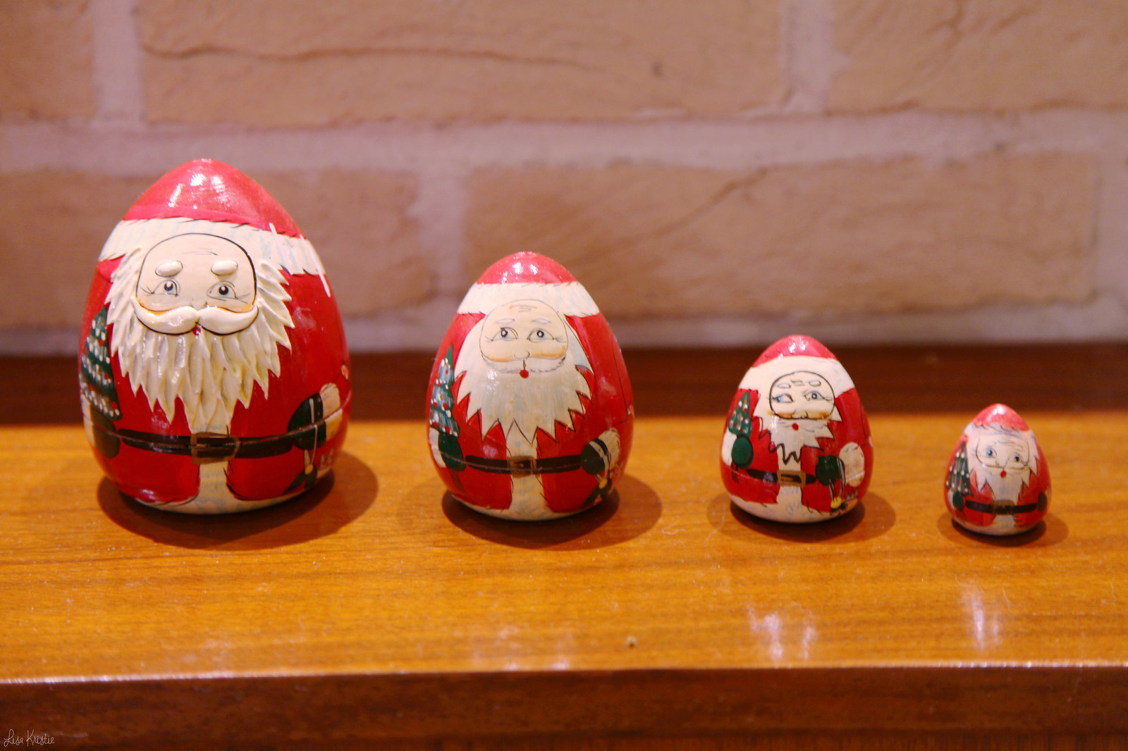 Santa santaclause clause egg figures matryoshka russian wooden dolls