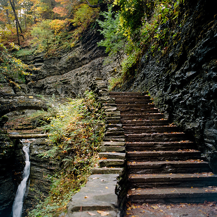 © 2016. Watkins Glen State Park in the Finger Lakes region of New York. Monday, Oct. 17, 2016. Portra 400+1, Mamiya C220.