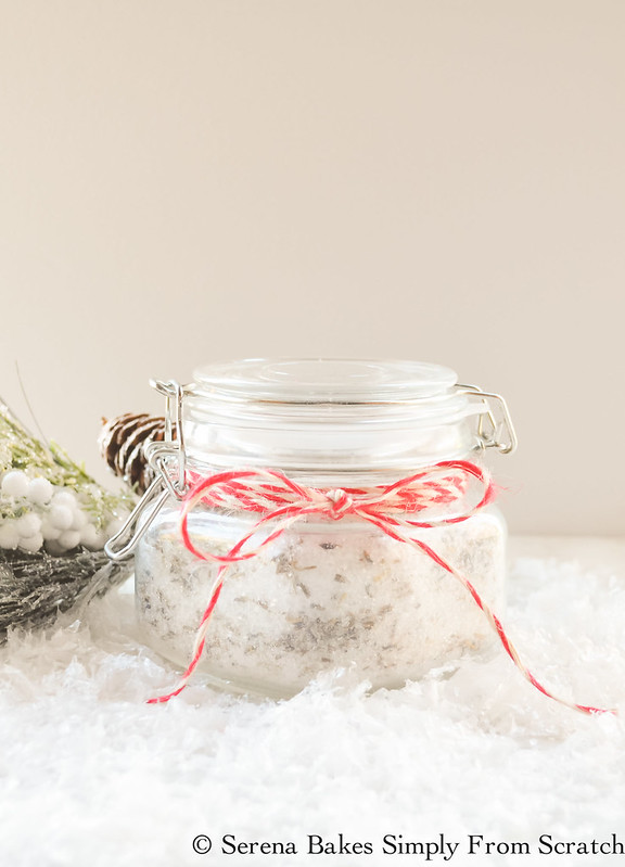 A fun Holiday Gift Basket Idea DIY Lavender Mineral Bath with step by step instructions! Great for relaxation and achy muscles! serenabakessimplyfromscratch.com