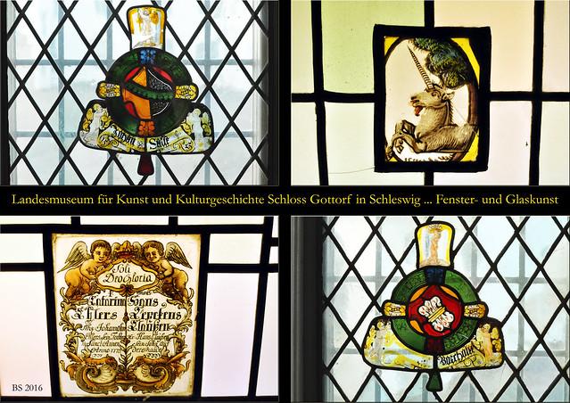 Landesmuseum für Kunst und Kulturgeschichte in Schloss Gottorf, Schleswig - kunstvolle Fensterarbeiten, alte Glaskunst, Renaissance ... Fotos und Collagen: Brigitte Stolle 2016