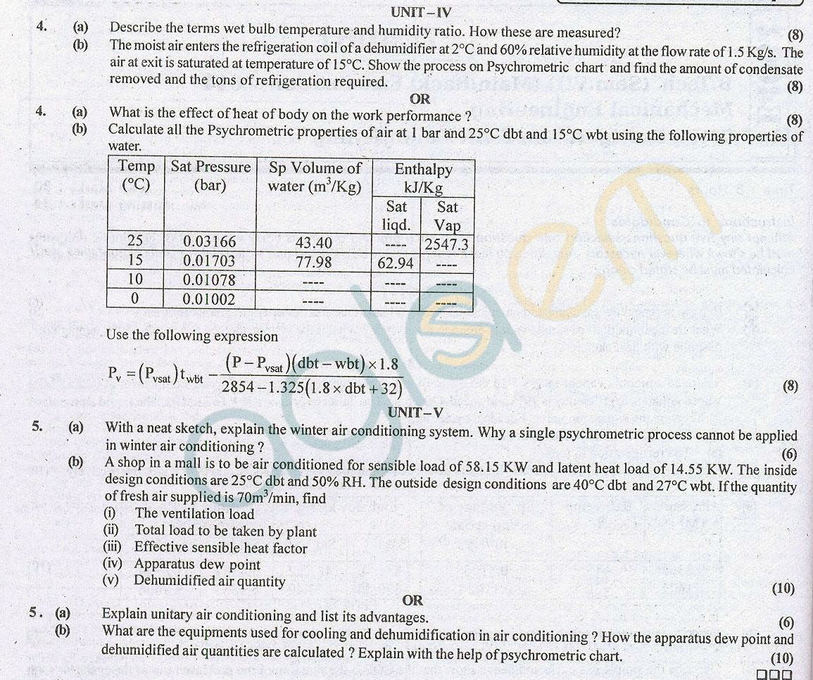 RTU Question Papers 7 Semester ME Refrigeration