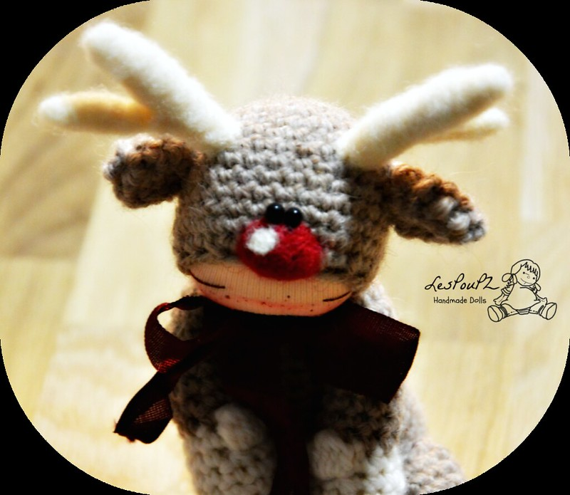 Titi Reindeer, Christmas Special, Natural Fiber Doll by LesPouPZ Handmade Dolls