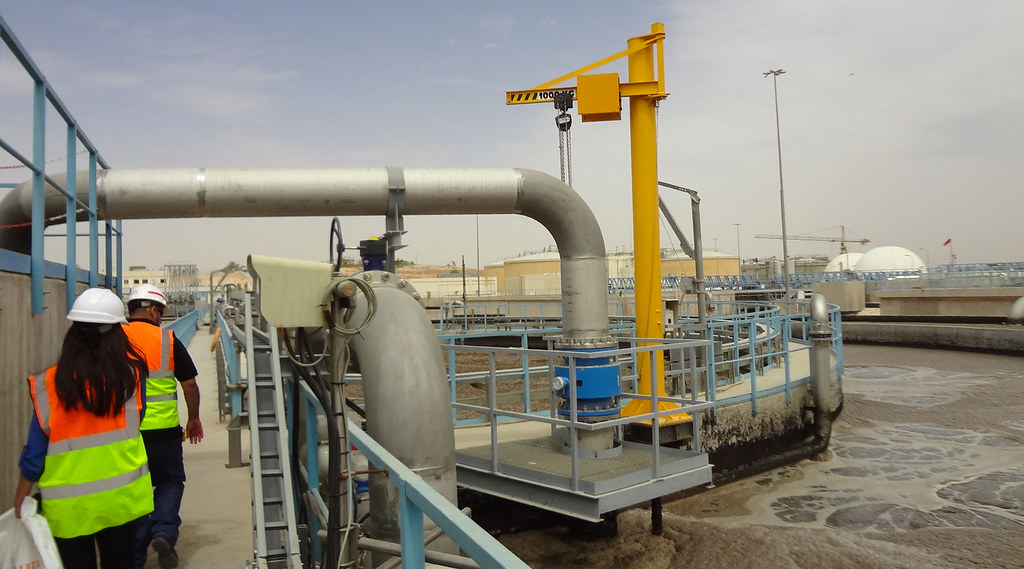 PhD student Mais Swiss visits a Samra wastewater treatment plant in Jordan to collect samples.