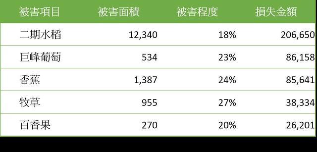 杜鵑颱風受災嚴重前五項作物。