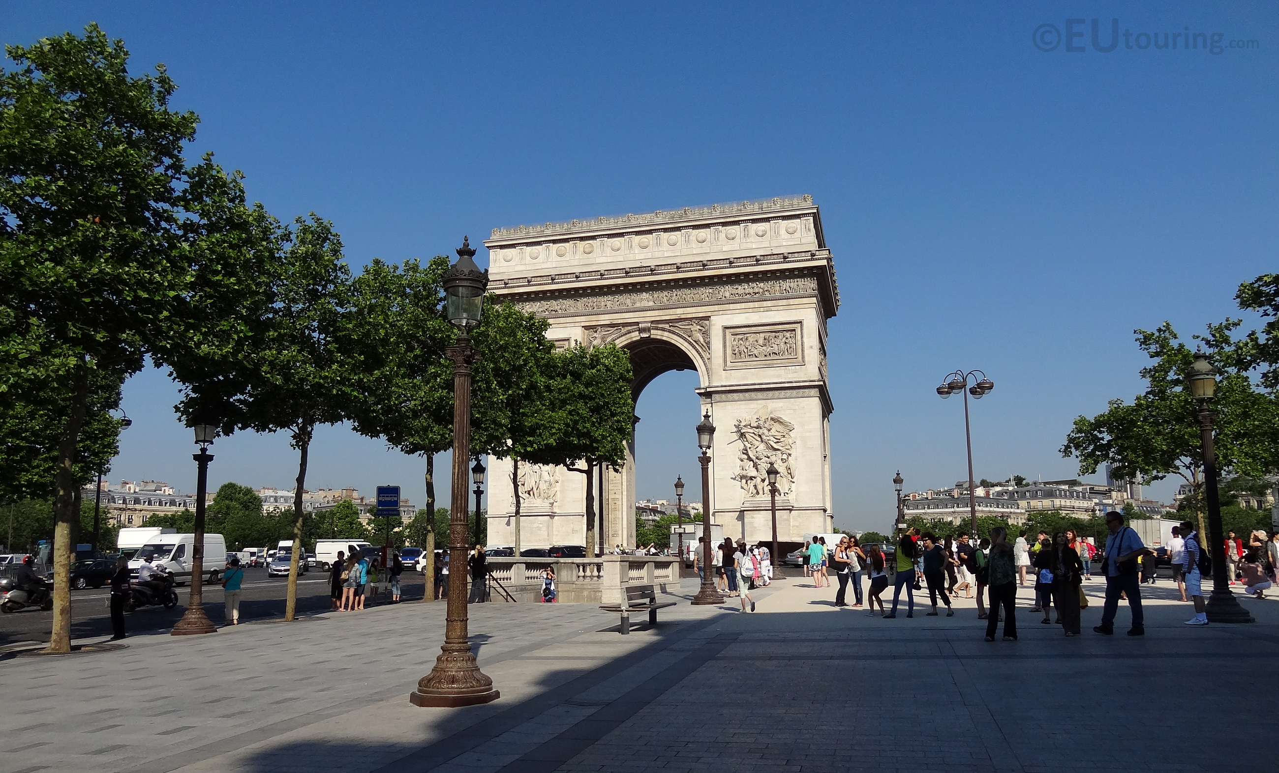The end of the Champs Elysees at the Arc de Triomphe