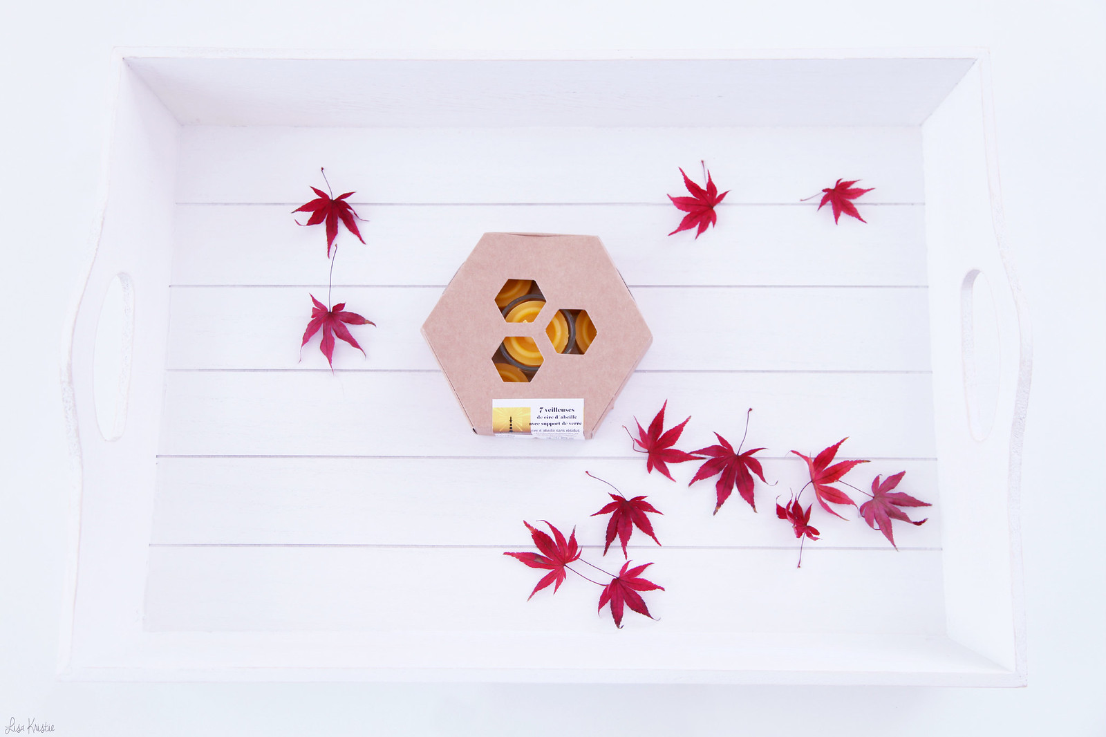 white home interior decoration tray wood red maple leaves yellow healthy beeswax candles tealights tea lights new purchase review