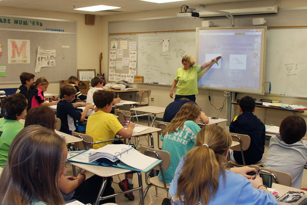 Modern Middle School Classroom ~ Middle school math class open house at our