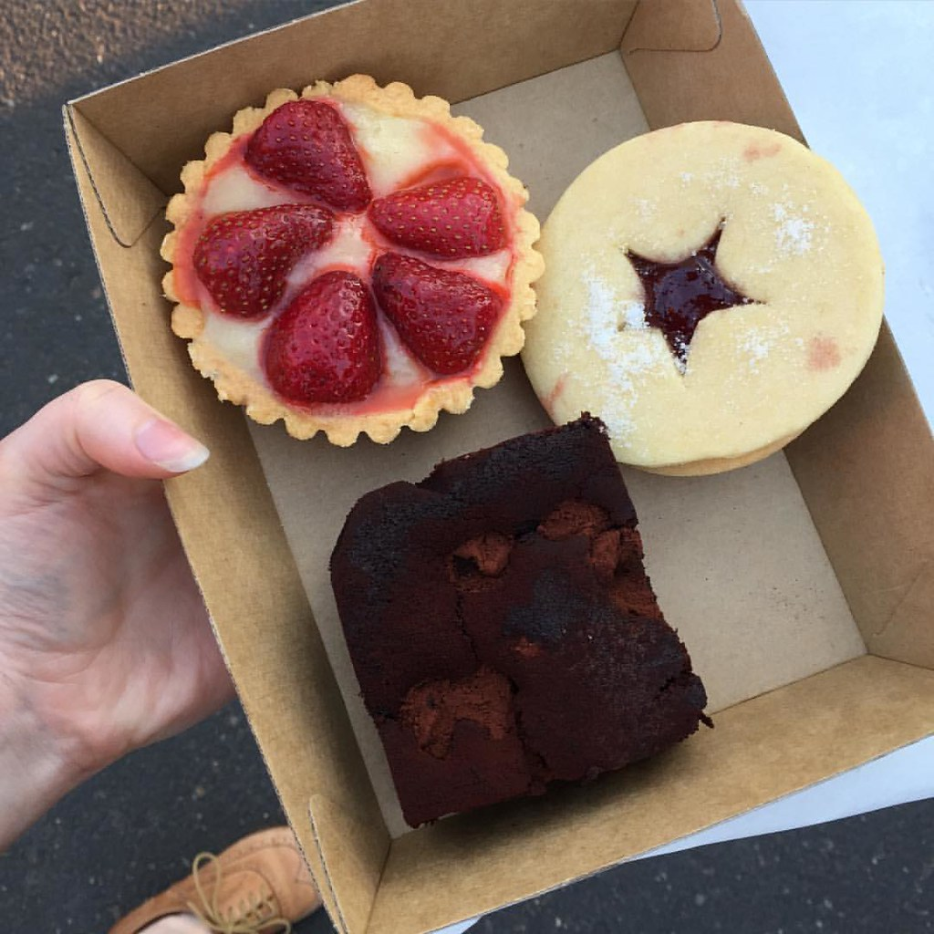 a trio of sweet treats, purchased from the home of vegan delights, smith and deli in fitzroy