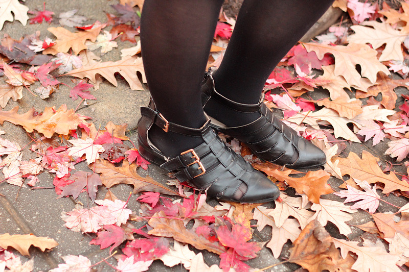 Flat Black Cutout Ankle Boots from Boohoo and Fall Leaves