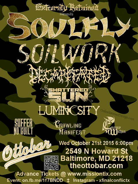 Soulfly At The Ottobar on 21 October 2015