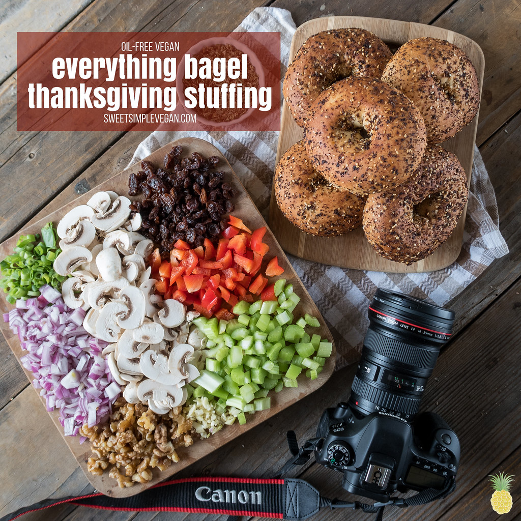 Everything Bagel Vegan Thanksgiving Stuffing {oil-free} sweetsimplevegan.com