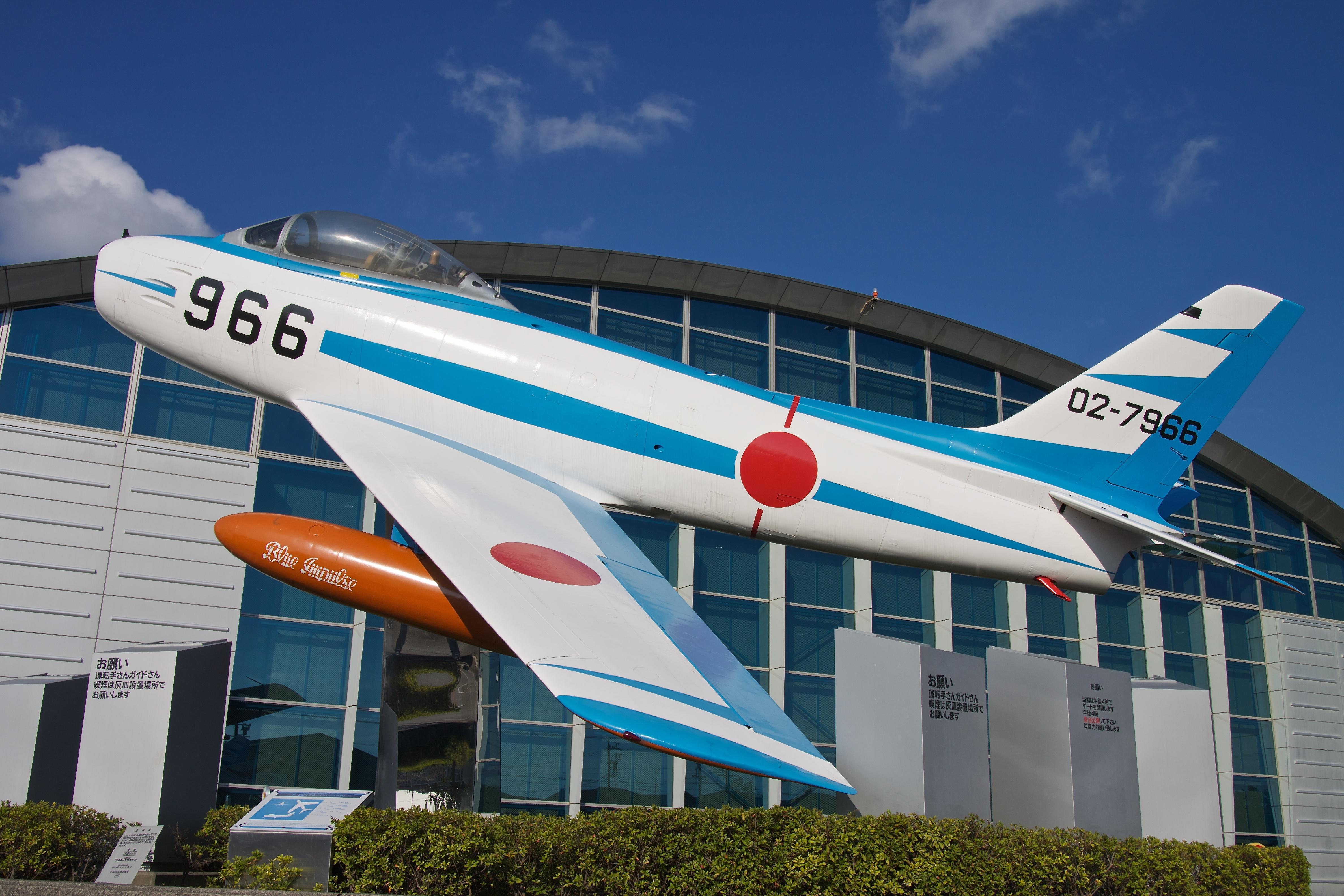 F-86 Sabre with Japan Air Self-Defense Force Blue Impulse aerobatic team paint job on display