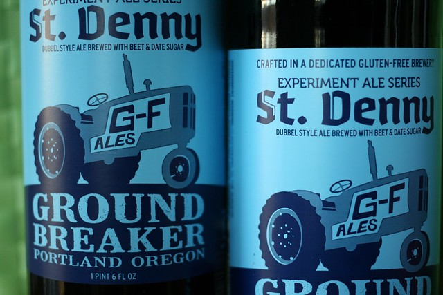 Two Bottles of St. Denny, the dubbel from Ground Breaker Brewing Company.