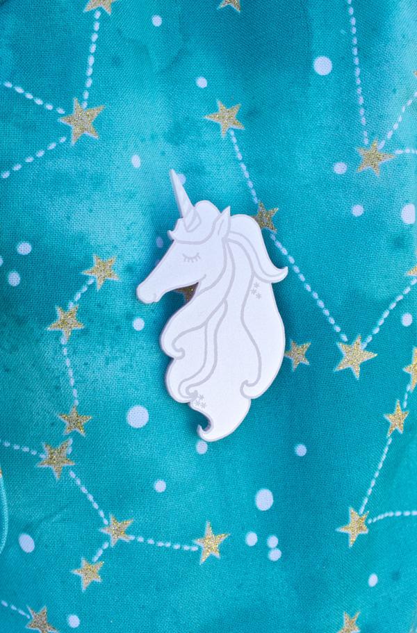 i love crafty unicorn brooch