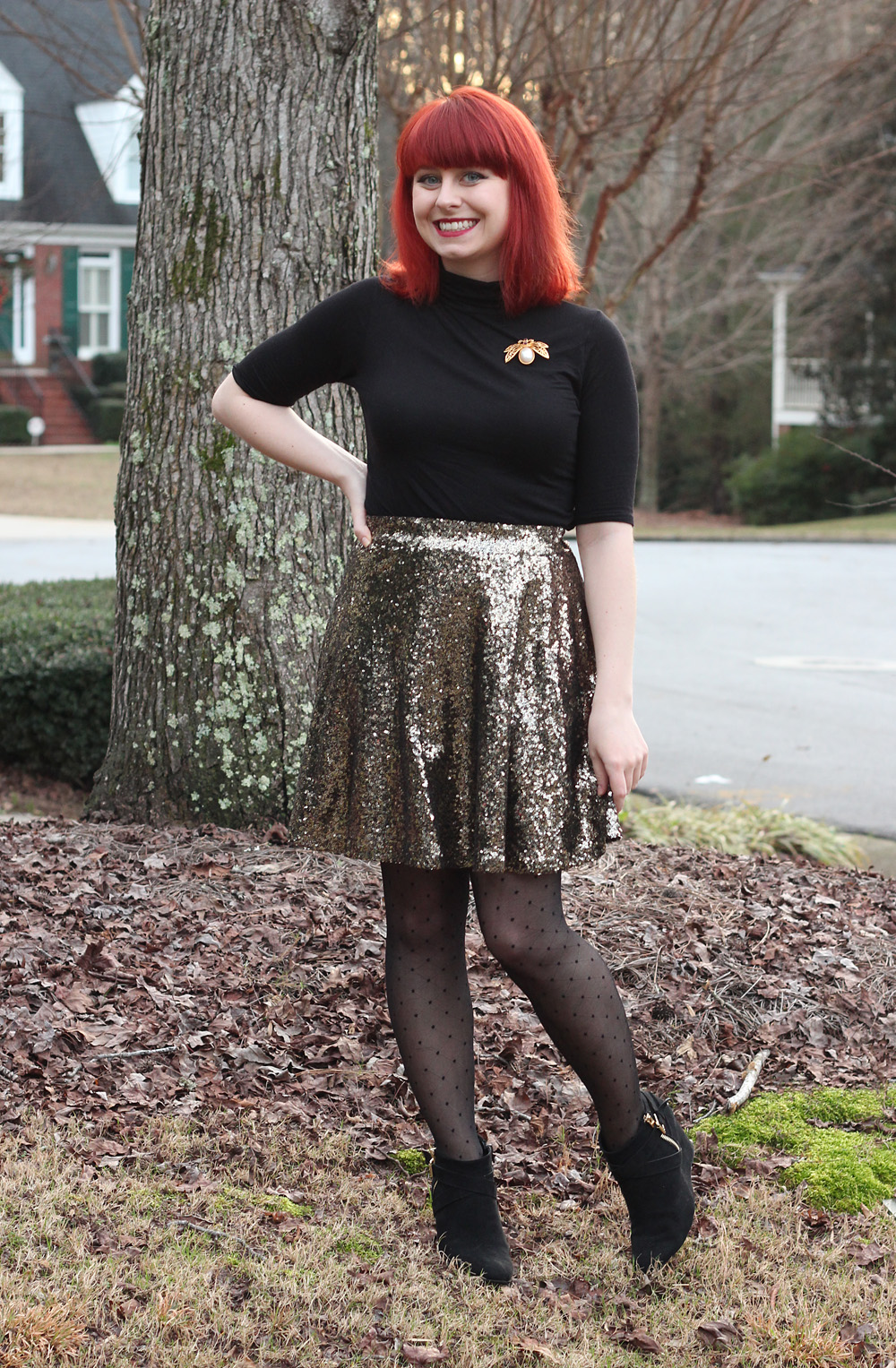 New Year's Look: Gold Sequined Skater Skirt, Black Short Sleeved Turtleneck, Dotted Tights, and Wedge Boots