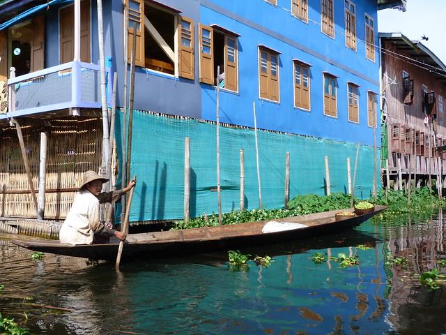 Aldea flotante en el Lago Inle (Myanmar)